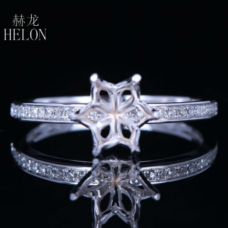 HELON 6.5-7mm Round Cut Real 10K White Gold Natural Diamond Semi Mount Ring Setting Women Engagement Wedding Trendy Jewelry Ring