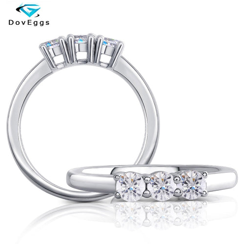 DovEggs New Arrival 10K White Gold 3.5mm FGH Color Moissanite Wedding Band for Women Gold Ring Daily Wear Fine Jewelry