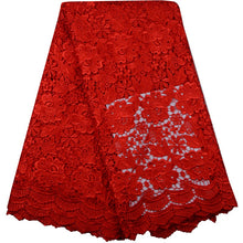 Sales Promotion African red guipure lace cord water soluble lace fabric for wedding dress 5 yards per piece free shipping by DHL