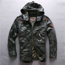 Men's Long Hooded Jacket Genuine Leather Flight Jacket Brand Soft Cowskin Vintage European American Leather Coat DHL Free