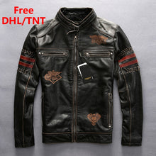 Men's Genuine Leather Jacket Vintage Black Thick Cowhide Slim Fit Motorcycle Biker Embroidery Coats Male Fast Ship Free DHL/TNT