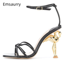 Unique Flamingo Strange High Heel Sandals Women Knitted Narrow Band Ankle Strap New Design Summer Runway Shoes Woman