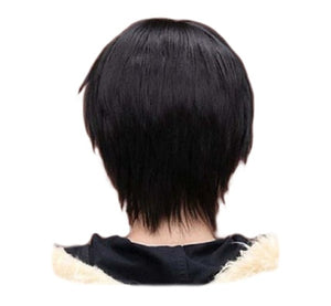 QQXCAIW Men Boy Short Straight Cosplay Men Party Black 32 Cm Heat Resistant Synthetic Hair Wigs