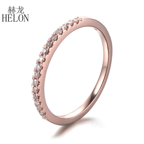 HELON Solid 10k Rose Gold Pave 0.2ct Natural Diamonds Wedding Engagement Ring Diamonds Anniversary Women's Jewelry Ring
