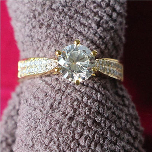 Brilliant 2CT Propose Ring Jewelry 24K Yellow Gold Plated SONA Simulate Diamond Engagement Ring Jewelry Solid Silver Excellent