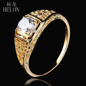 HELON Antique Vintage Art style Jewelry Solid 10k Yellow Gold 4.5mm Round 0.4ct Moissanite Diamond Engagement Wedding Women Ring