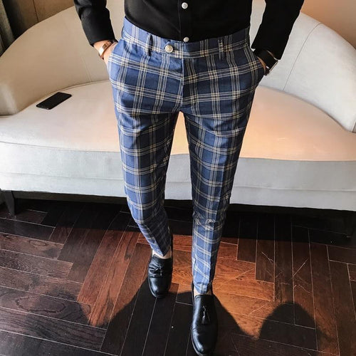 Men Dress Pants Slim Fit Formal Business Plaid Pants Men Pantalon A Carreau Homme Vintage Check Suit Trousers Wedding Pants - melangebyojo