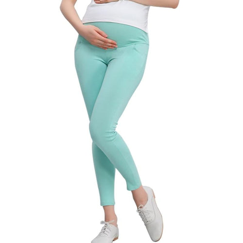 Maternity Leggings Pregnant Solid Cotton Pants Clothes Women High Waist Adjustable Belt Modal Pregnancy Trousers Spring&autumn - melangebyojo
