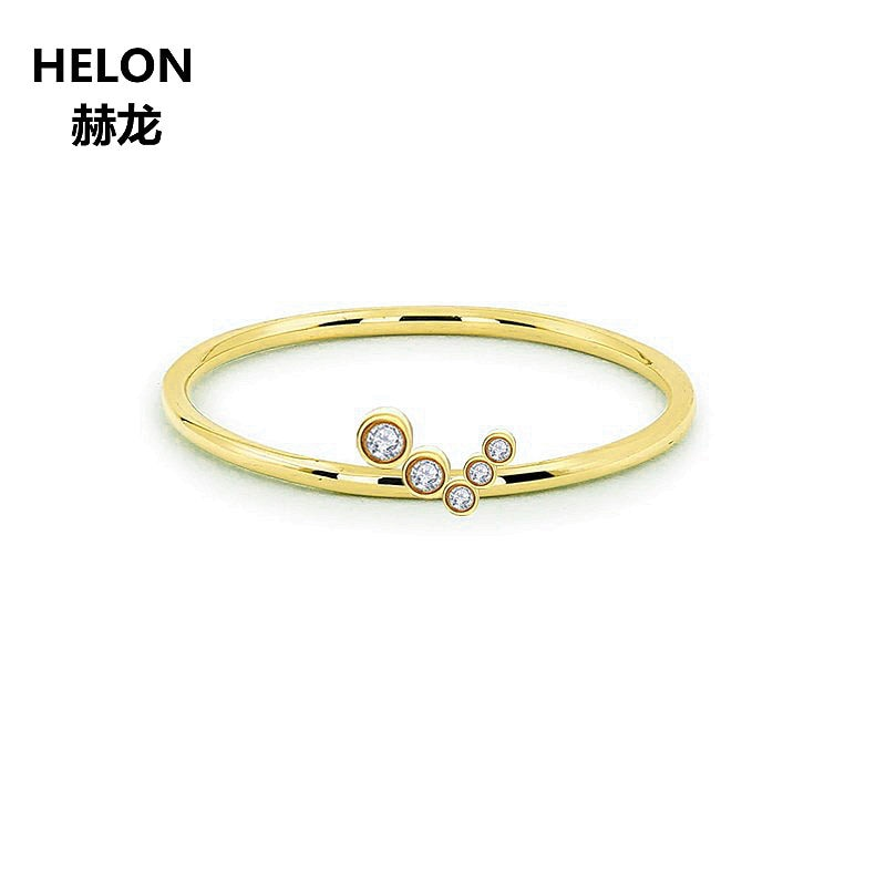 Solid 10k Yellow Gold Women Natural Diamonds Ring Office Career Style Party Fine Jewelry Engagement Wedding Band