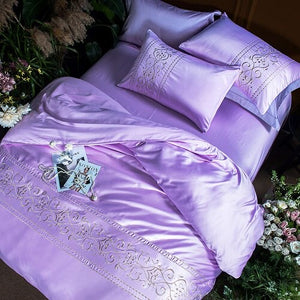 White silver pink cotton imitate silk Bedding Set luxury queen king size bed set Bedsheets linen embroidery Duvet cover set