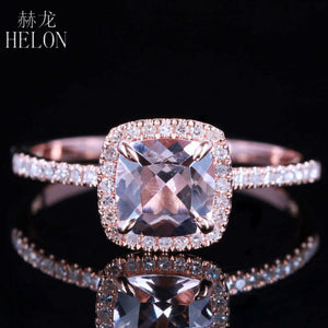 Solid 10K Rose Gold Certified Cushion 0.9ct morganite Diamonds Engagement Ring Women Wedding Romantic Jewelry Ring Claw Prongs