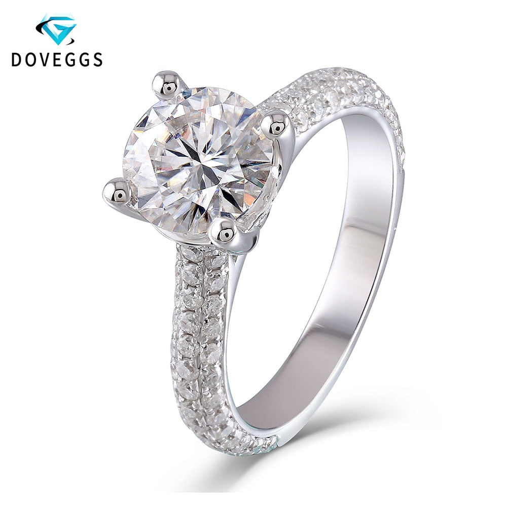 DovEggs 10K Genuine White Gold F Color Round Brilliant Moissanite 2 Carats 8mm Engament Ring With Accent for Women