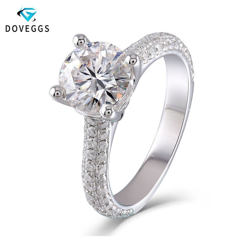 DovEggs 10K Genuine White Gold F Color Round Brilliant Moissanite 2 Carats 8mm Engament Ring With Accent for Women - Mélange Paris