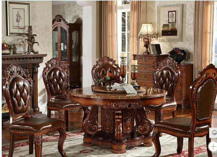 Modern Style Marble Italian Dining Table, 100% Solid Wood Italy Style Luxury round Dining Table set  d1426