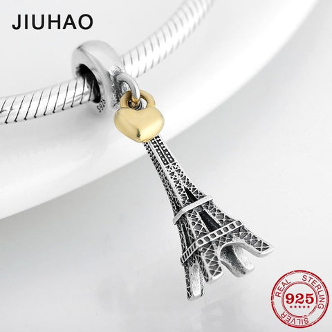 New 925 Sterling Silver Fashion capital Paris Eiffel Tower Pendant Beads Fit Original Pandora Diy Bracelet Charms Jewelry making - Mélange Paris