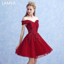 LAMYA Sexy Red Lace Elegant Knee Length Prom Dresses 2019 New Arrived Women Beading A Line Evening Party Dress With Bow - melangebyojo