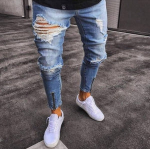 Men Stretchy Ripped Skinny Jeans Biker Embroidery Print High Quality Jeans Destroyed Hole Taped Slim Fit Denim Scratched