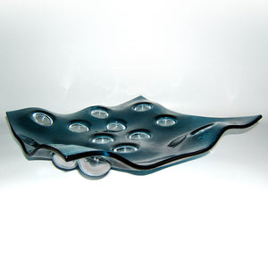 Large Blue Bubble bowl - AM studio glass design shop