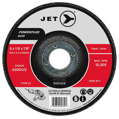 4 x 1/8 x 5/8 A30DUO POWERPLUS DUO T27 Cutting/Grinding Wheel Product#500405