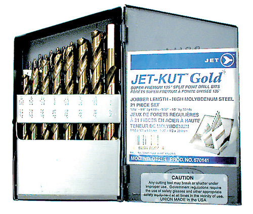 21 PC JET-KUT GOLD Super Premium Drill Bit Set Product#570141