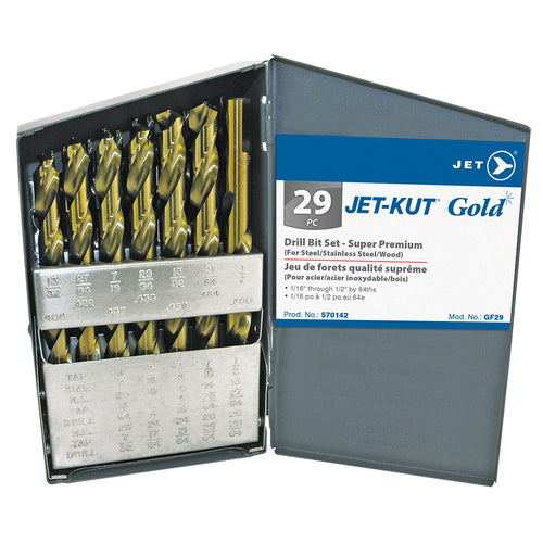 29 PC JET-KUT GOLD Drill Bit Set - Super Premium Product#570142