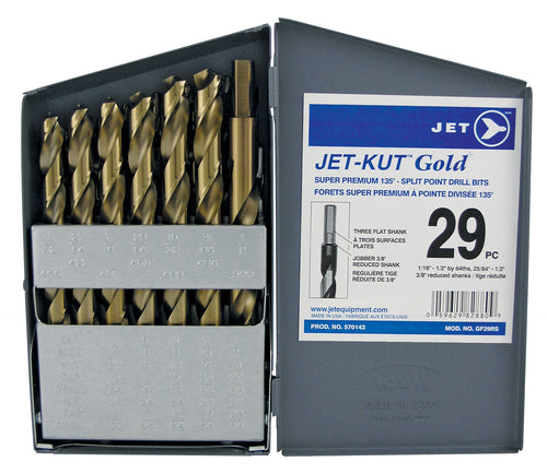 29 PC JET-KUT GOLD Super Premium Reduced Shank Drill Bit Set Product#570143
