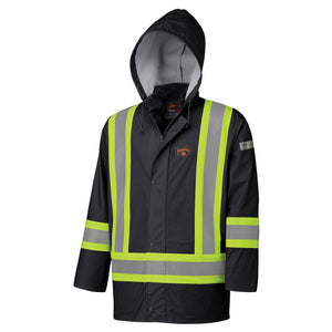 Flame Resistant PU Stretch Hi-Viz Waterproof Jacket Model#5894BK Product#V3520170