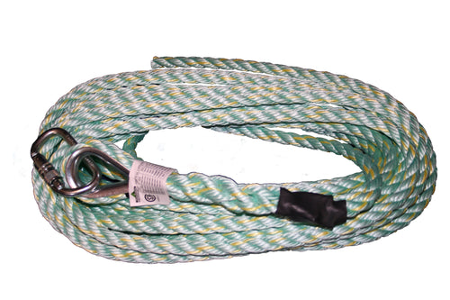 Vertical Lifeline - Carabiner & Back Splice - 25' (7.6 m) Model#VL-1115-25 Product#V84013025