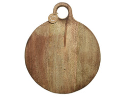 Round Mango Wood Chopping with Carved Handle