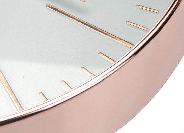 Rose Gold Copper Wall Clock with Large Retro Numbers