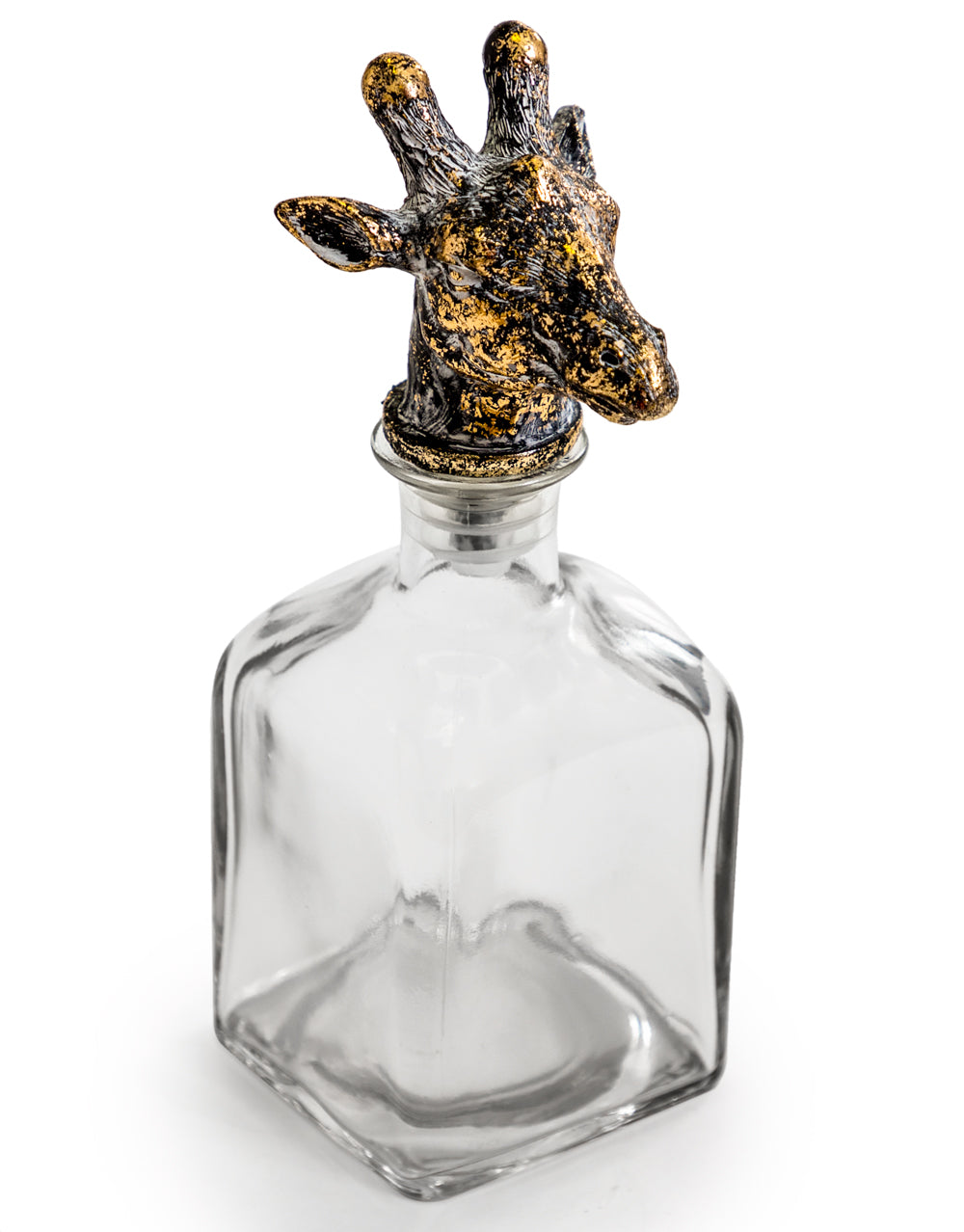 Glass Bottle with Giraffe Stopper