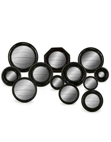 Set of 12 Black Frame Convex Mirrors