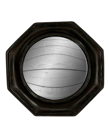 Octagon Black Convex Mirror