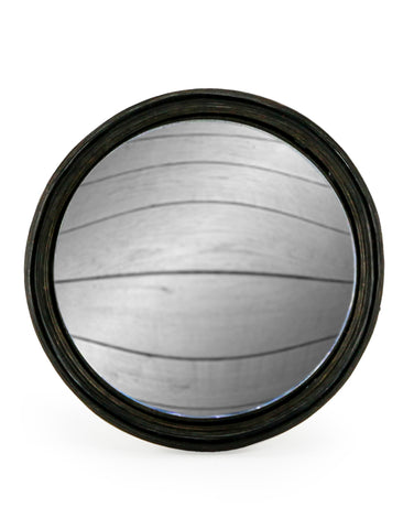 Large Round Black Convex Mirror