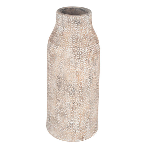 Beige Stone Vase with Flower Design