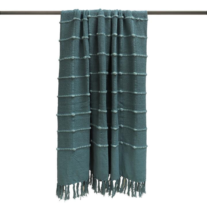 Teal Blue Cotton Throw