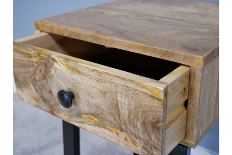 Mango Wood Industrial Bedside Table