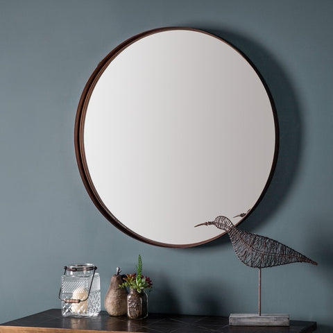 Round Antique Bronze Metal Frame Wall Mirror