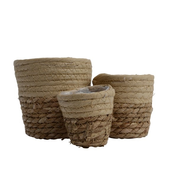 Set of 3 Mini Sand Seagrass Baskets
