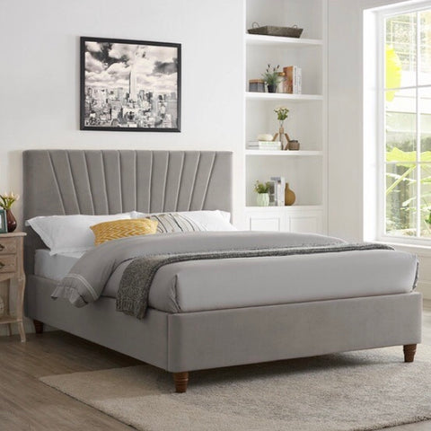 Grey Scallop Velvet Bed With Wooden Legs