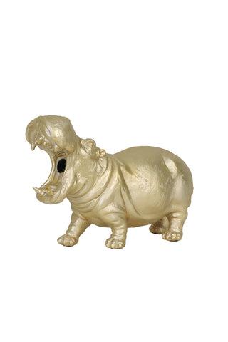Large Gold Hippo Lamp