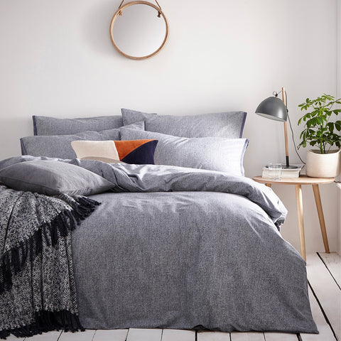 Denim Linen Style Cotton Bedding. Claybourne