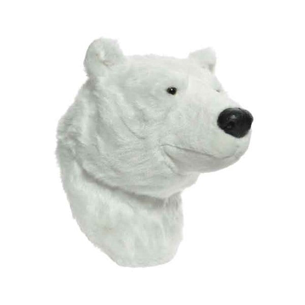 Polar Bear Faux Fur Wall Head
