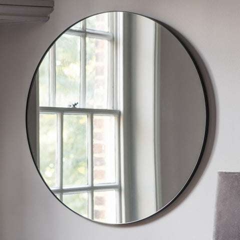 Round Wall Mirror with Black Edge