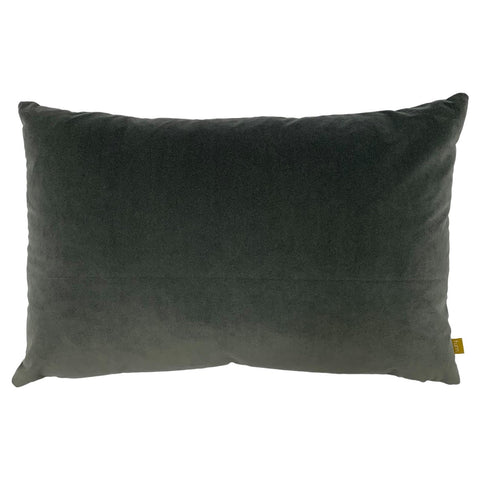 Steel Grey Velvet Rectangle Cushion with Linen Back