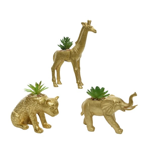 Gold Animal Planter with Succulent