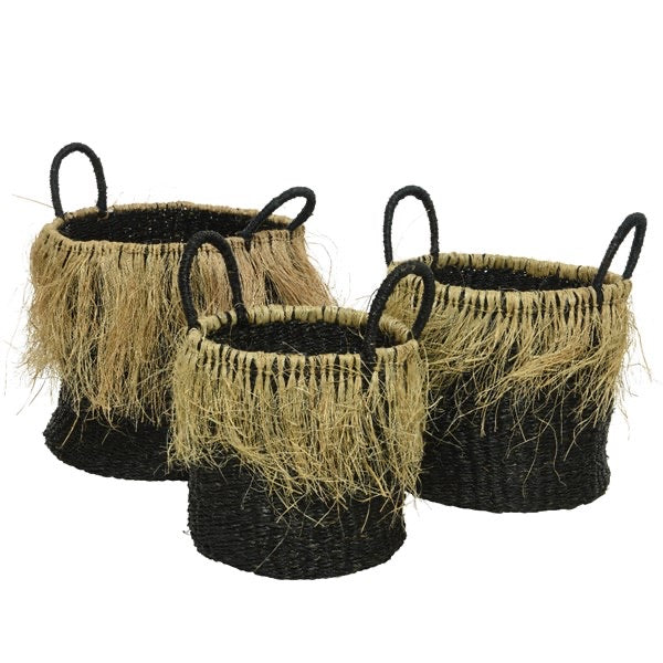 Noir Seagrass Basket with Fringe
