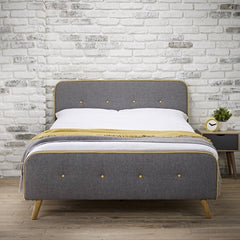 Mustard and Grey Fabric Bed