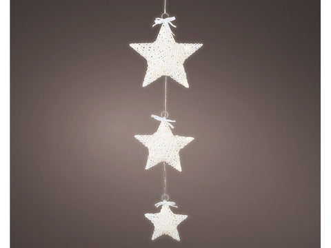 Trio of White Hanging LED Light Up Stars