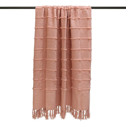 Blush Pink Cotton Throw